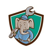 Elephant Mechanic Spanner Shoulder Crest Cartoon