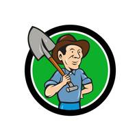 Farmer Shovel Shoulder Circle Cartoon