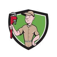 Handyman Monkey Wrench Crest Cartoon