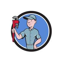 Handyman Monkey Wrench Circle Cartoon