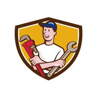 Handyman Spanner Monkey Wrench Crest Cartoon