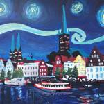 """Starry Night in Luebeck Germany with Van Gogh Insp"" by arthop77"