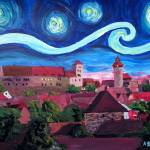 """Starry Night in Nuremberg Germany with Castle and"" by arthop77"