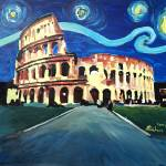 """Starry Night over Colloseum in Rome Italy with Van"" by arthop77"