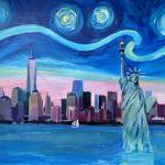 """Starry Night over Manhattan with Statue of Liberty"" by arthop77"