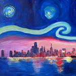 """Starry Night in Chicago Illinois with Lake Michiga"" by arthop77"