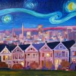 """Starry Night with Painted Ladies San Francisco wit"" by arthop77"