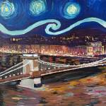 """Starry Night in Budapest Hungary with Danube and P"" by arthop77"