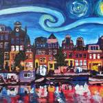 """Starry Night over Amsterdam Canal with Van Gogh In"" by arthop77"