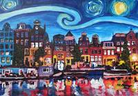 Starry Night over Amsterdam Canal with Van Gogh In