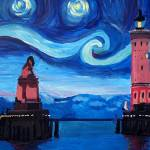 """Starry Night in Lindau with Lion and Lighttower on"" by arthop77"
