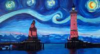 Starry Night in Lindau with Lion and Lighttower on