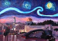 Starry Night in Jerusalem over Wailing Wall