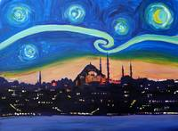 Starry Night in Istanbul, Turkey, Van Gogh Inspira