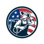 """Welder Looking Side USA Flag Circle Retro"" by patrimonio"