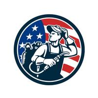 Welder Looking Side USA Flag Circle Retro