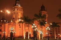 Cathedral at night, Lima Peru