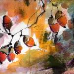 """Acorns in the Wind Watercolor and Ink"" by GinetteCallaway"