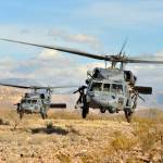 """Two HH-60 Pavehawk helicopters land during a perso"" by motionage"