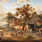 """Edward Masters - Village Scene with figures before"" by motionage"