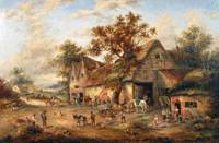 Edward Masters - Village Scene with figures before