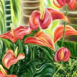 """Tropical Coral Anthurium Flowers by Jenny Floravit"" by JennyFloravita"