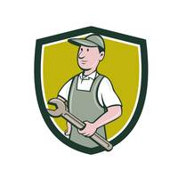 Repairman Holding Spanner Crest Cartoon