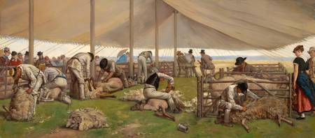 Eyre Crowe - A Sheep-Shearing Match 1875