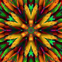 Abstract Multi Coloured Armour Flower Art Prints & Posters by Emily Colosimo