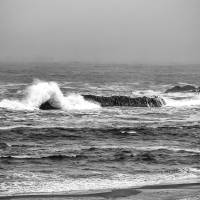 Surf on the rocks with fog Art Prints & Posters by Robert Estes