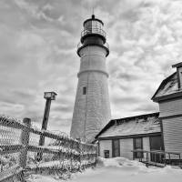 Bird House of Portland Head Light B&W Art Prints & Posters by Richard Bean