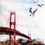 """San Francisco Bridge and Birds"" by GinetteCallaway"