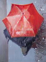 Red Umbrella Moving in Paris Rain