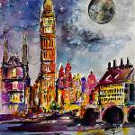 """Moon over London Big Ben Watercolor"" by GinetteCallaway"