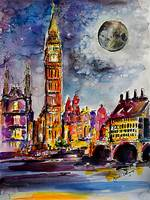 Moon over London Big Ben Watercolor