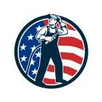 """Welder Standing Visor Up USA Flag Circle Retro"" by patrimonio"