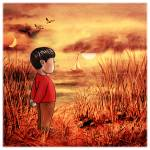 """Boy And The Ocean Sunset Seascape"" by IrinaSztukowski"