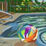"""Campground pool and beach ball"" by rogerwhite"