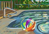 Campground pool and beach ball