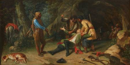 German School, 19th century, The Robbery in the Wo
