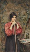 Henry Meynell Rheam - Study of a girl in the artis