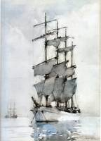 Henry Scott Tuke, Four Masted Barque, 1914