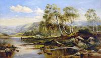 James Poole - Fisherman in a River Landscape