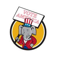 Republican Elephant Mascot Vote America Circle Car