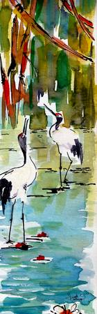 Japanese Cranes In Lily Pads