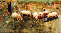 Joseph Crawhall - Pigs at the Trough 1884