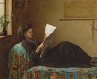 EASTMAN JOHNSON 1824 - 1906, reading