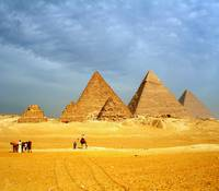 pyramids on the giza plateau egypt
