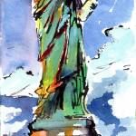 """Lady Liberty New York Watercolor and Ink"" by GinetteCallaway"
