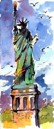Lady Liberty New York Watercolor and Ink